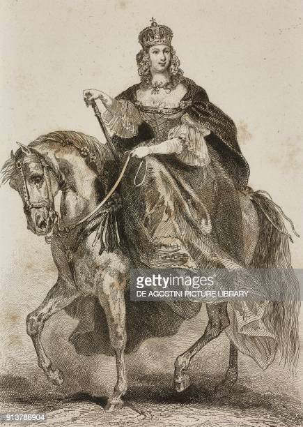 Portrait of Maria Theresa of Hapsburg emperess consort of Francis I engraving by Lemaitre Lalaisse and Chaillot from Allemagne by Philippe Le Bas...