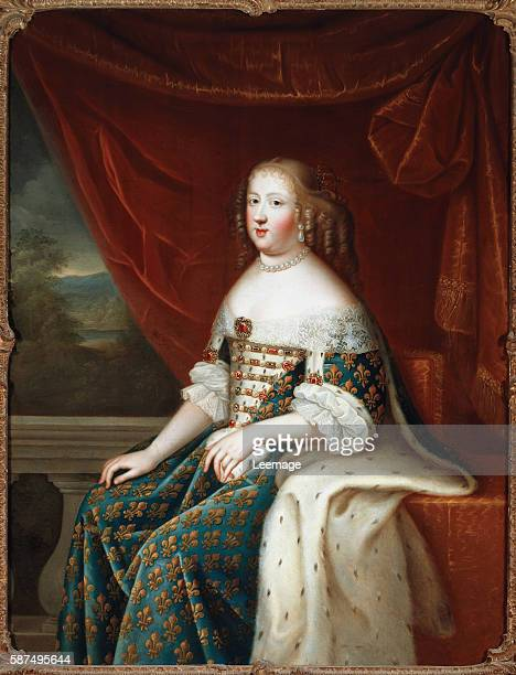 Portrait of Maria Theresa of Spain queen of France Painting by the studio of Charles Beaubrun 17th century Galleria Palatina Florence Italy