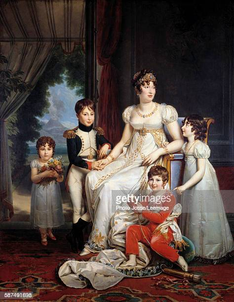 Portrait of MariaAnnunziata called Caroline Bonaparte Queen of Naples and wife of Joachim Murat surrounded by her children Painting by Francois...