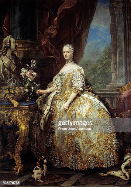 Portrait of Marie Lescszinska Queen of France in full court dress Painting by Carle Van Loo 18th century 274 x 193 m Castle Museum Versailles France