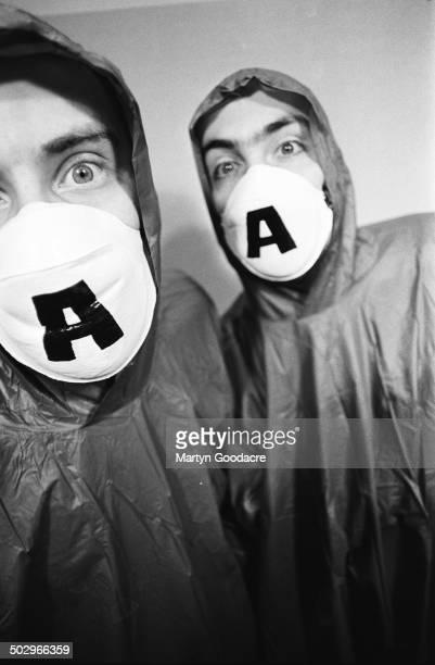 Portrait of Mark Archer and Chris Peat of breakbeat hardcore band Altern8 United Kingdom 1990