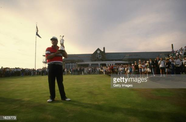 Portrait of Mark Calcavecchia of the USA holding the Claret Jug after winning the British Open at the Royal Troon Golf Club in Scotland Calcavecchia...