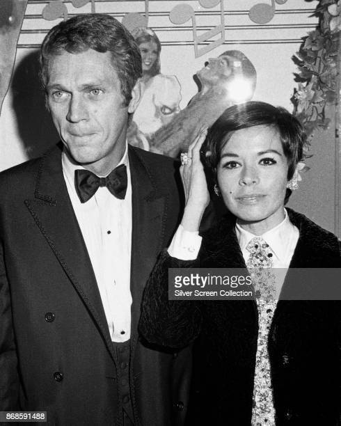 Portrait of married actors Steve McQueen and Neile Adams as they attend the premiere of the 'Doctor Dolittle' at the Paramount Theater Los Angeles...