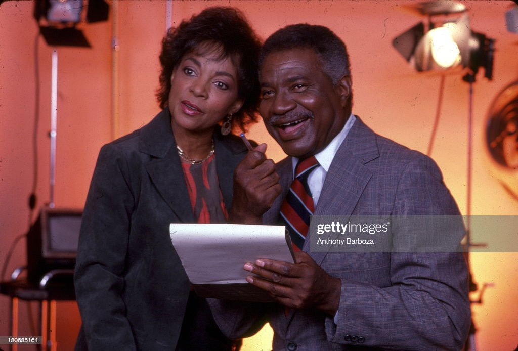 Portrait of married American actors and Civil Rights activists Ruby Dee and Ossie Davis (1917 - 2005) in a recording studio, New York, New York, 1990s.