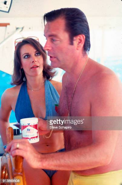 Portrait of married American actors Natalie Wood and Robert Wagner on their yacht the 'Splendour' October 8 1976
