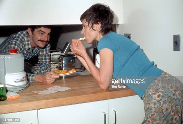 Portrait of married American actors Richard Benjamin and Paula Prentiss as they pose in their East Side home New York New York July 1973