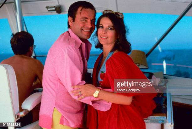 Portrait of married American actors Robert Wagner and Natalie Wood as they embrace on their yacht the 'Splendour' October 8 1976