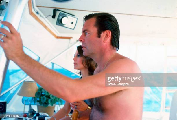 Portrait of married American actors Robert Wagner and Natalie Wood on their yacht the 'Splendour' October 8 1976
