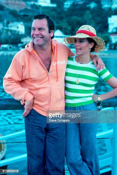 Portrait of married American actors Robert Wagner and Natalie Wood on the dock October 8 1976