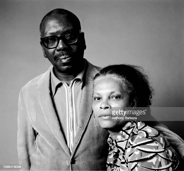 Portrait of married American artists Jacob Lawrence and Gwendolyn Knight as they pose together New York 1974