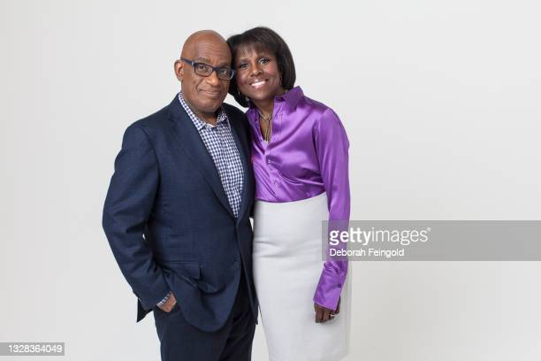 Portrait of married American broadcast journalists Al Roker and Deborah Roberts as they pose against a white background, New York, New York, 2014.