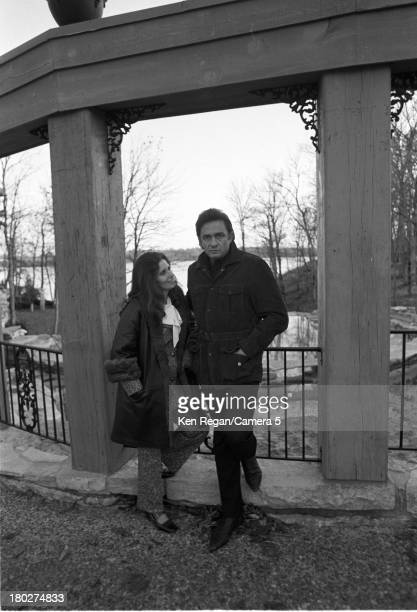 Portrait of married American musicians June Carter Cash and Johnny Cash 1970s