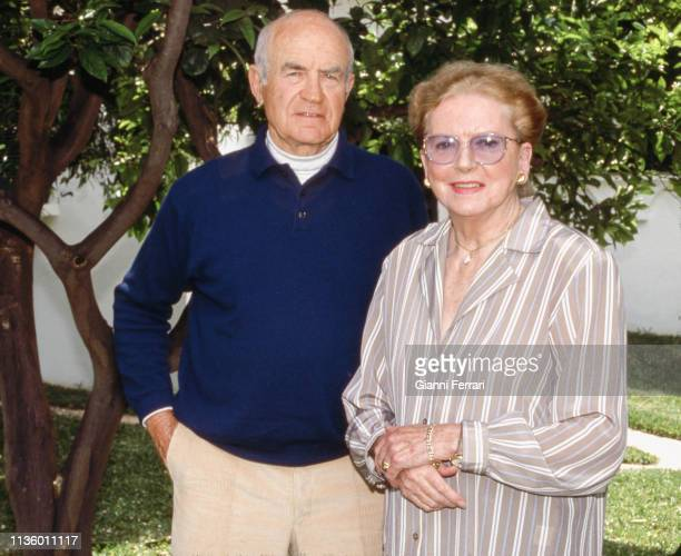 Portrait of married couple Germanborn author and screenwriter Peter Viertel and Scottishborn British actress Deborah Kerr Marbella Malaga Spain 1991...