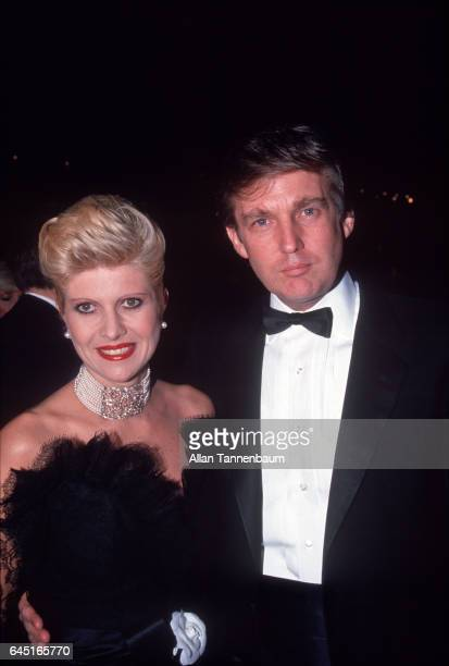 Portrait of married couple Ivana and Donald Trump as they attend a fashion event New York New York October 10 1987