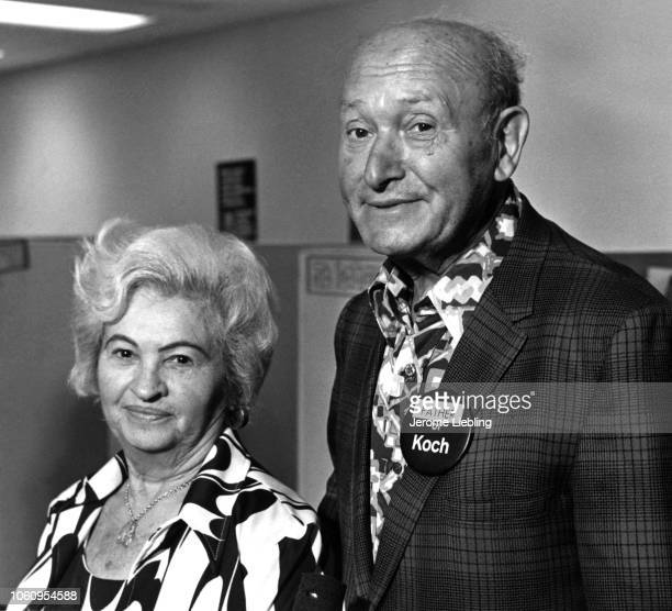 Portrait of married couple Rose Klein and Louis Koch the latter with a 'Father of Koch' campaign button on his lapel New York New York 1977 At the...