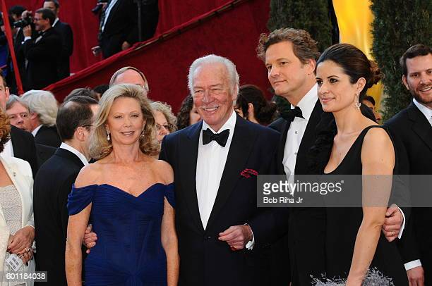 Portrait of married couples from left actors Elaine Taylor and Christopher Plummer and actor Colin Firth and producer Livia Giuggioli as they pose...