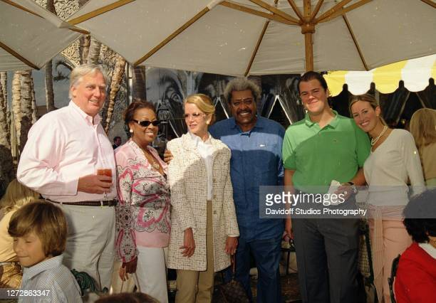 Portrait of married couples, real estate developer Robert Trump and Blaine Trump & Henrietta King and boxing promoter Don King , with Christopher...