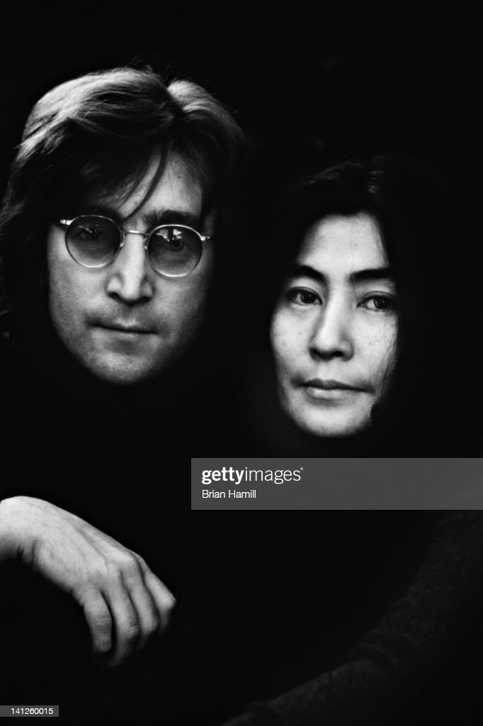 Portrait of married musicians John Lennon (1940 - 1980) and Yoko Ono at their apartment (105 Bank Street), New York, New York, 1972.