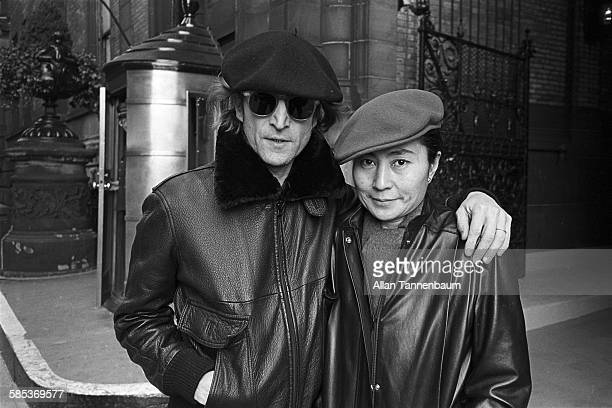 Lennon was gunned down outside his New York apartment - the Dakota Building on the Upper West Side. John And Yoko are seen here poignantly in the spot he would be murdered just two weeks later.