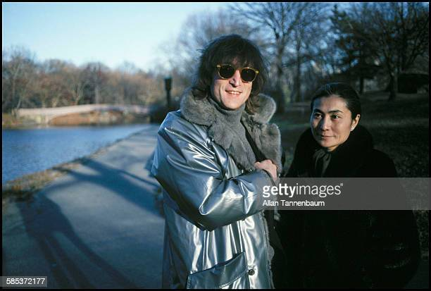 Portrait of married musicians John Lennon and Yoko Ono in Central Park New York New York November 26 1980 They were in the park to film a video for...