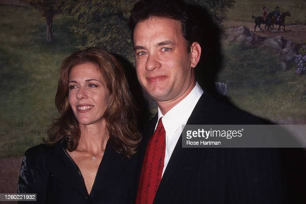 Portrait of marries America actors Rita Wilson and Tom Hanks as they attend the 1995 National Board of Review awards gala, New York, New York,...