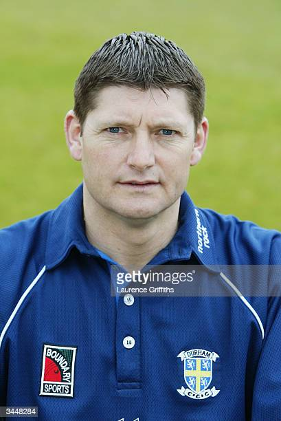 Portrait of Martyn Moxon of Durham taken during the Durham County Cricket Club photocall held on April 14 2004 at the County Ground in Durham England