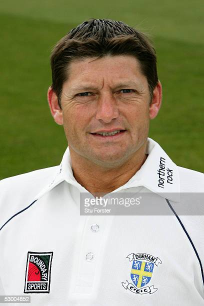Portrait of Martyn Moxon of Durham taken during the Durham County Cricket Club photocall at the County Ground on April 8 2005 in Durham England