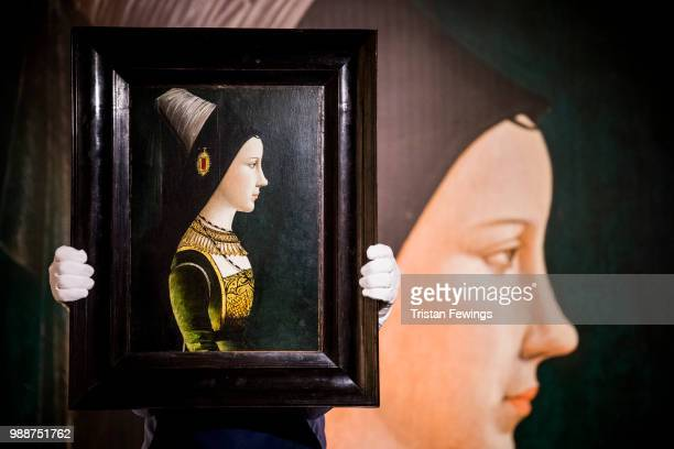 Portrait of Mary Burgundy In Profile by Netherlandish or South German School Late 15th Century goes on display as part of the Old Masters Exhibition...