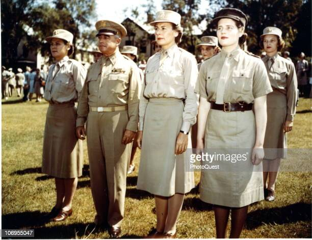 Portrait of Mary Churchill of the Women�s Royal Voluntary Service as she pose with among others Colonel HB Brown and Major Florence Newsome the 3rd...