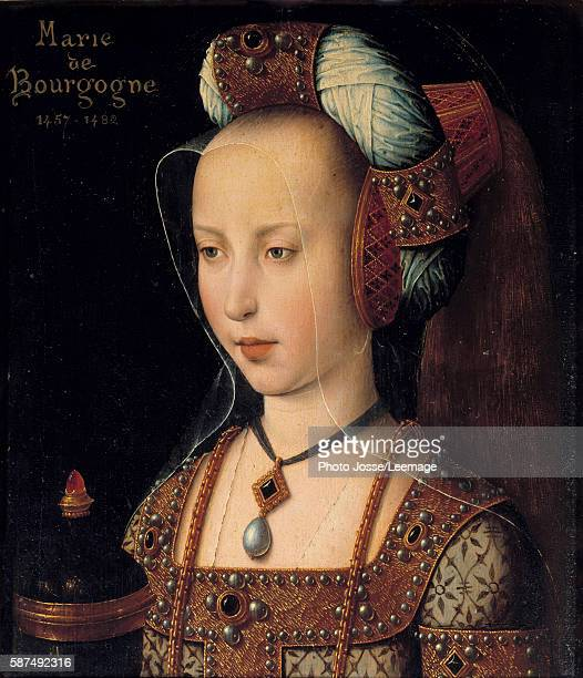 Portrait of Mary of Burgundy Duchess and Countess of Burgundy 15th century Anonymous painting of the French School Oil on wood 026 x 022 m Conde...