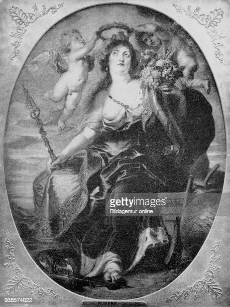 Portrait of Mary of Medici after a painting by Peter Paul Rubens 17th century Maria de Medici digital improved reproduction from a publication of the...