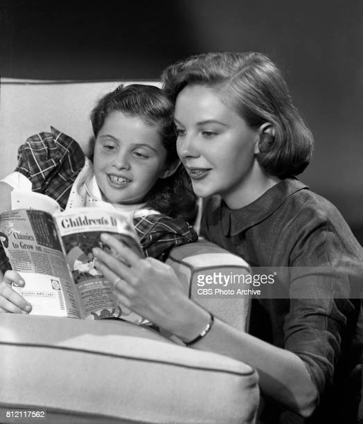 Portrait of Mary Stewart and 8 yearold Lynn Loring who portray Joanne Gardner Barron and daughter Patricia Patti Barron in the CBS television soap...