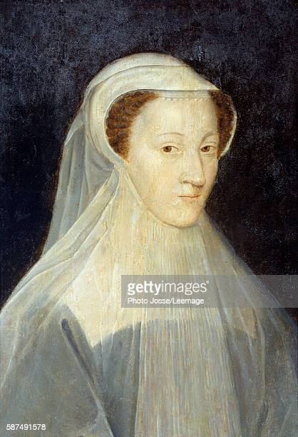 Portrait of Mary Stuart , Queen of France and later Queen of Scotland in mourning dress. Painting by the studio of Francois Clouet , ca.1560. Oil on...