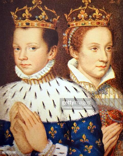 Portrait of Mary Stuart Queen of Scots with her first husband Francis II King of France Dated 16th Century