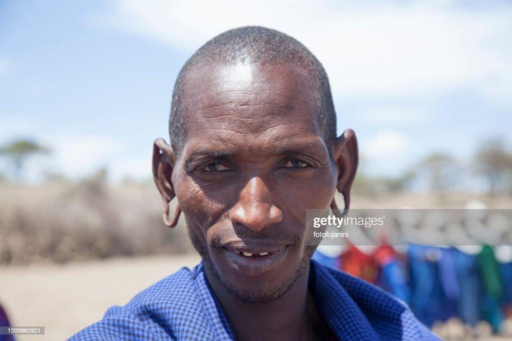 Ritratto di guerriero Masai : Foto stock