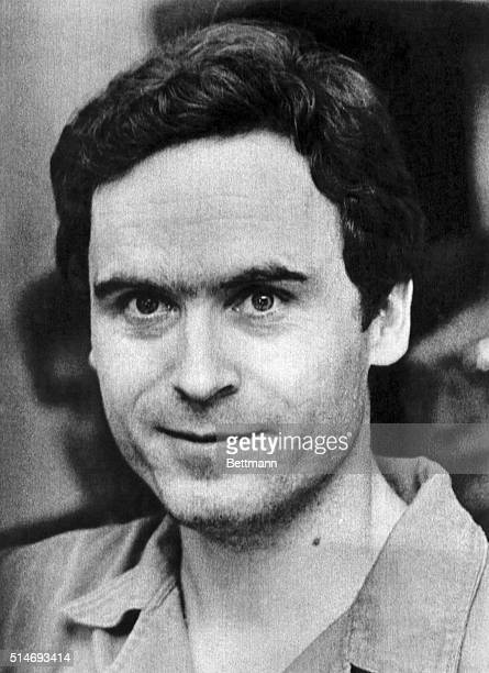 Portrait of mass murderer Ted Bundy, responsible for a string of murders in Washington state, Utah, and Florida in the 1970s.