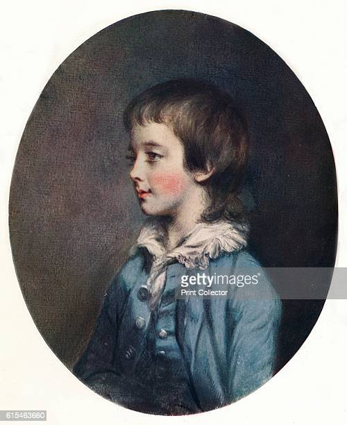 Portrait of Master Bernard Astley' late 18th century Portrait of a boy in blue coat by Daniel Gardner a British painter best known for his work as a...