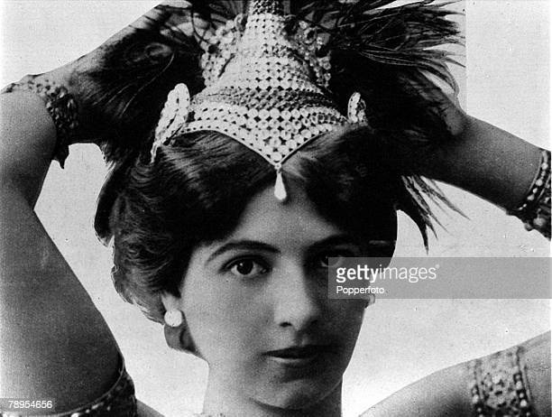 A portrait of Mata Hari stage name of Margaretha Gertruida MacLeod the alleged Dutch spy and exotic dancer who was shot after being found guilty of...