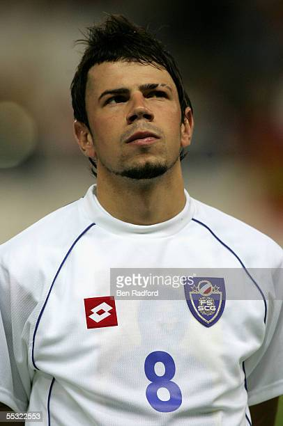 A portrait of Mateja Kezman of Serbia Montenegro during the 2006 World Cup qualifying match between Spain and Serbia and Montenegro at the Estadio...
