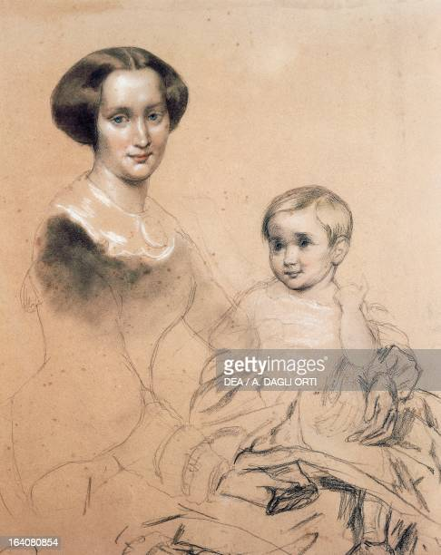 Portrait of Mathilde Wesendonck German poet known for her relationship with Richard Wagner shown here with her son Guido 1856 Drawing by Ernst Kietz...