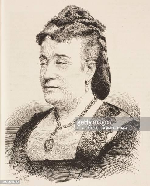 Portrait of Matilde Diez Spanish actress illustration from La Ilustracion Espanola y Americana magazine Year 19 Number 5 February 8 1875