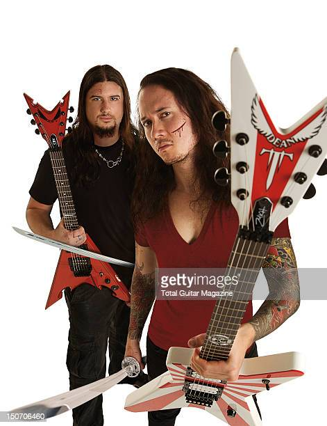 This image has been digitally manipulated Portrait of Matt Heafy and Corey Beaulieu of American heavy metal group Trivium taken on December 2 2008