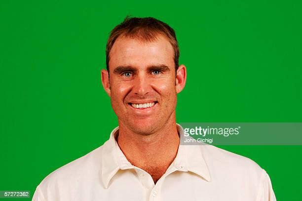 Portrait of Matthew Hayden of Australia taken during a photocall at the Royal Gardens Hotel on July 18 2005 in London England