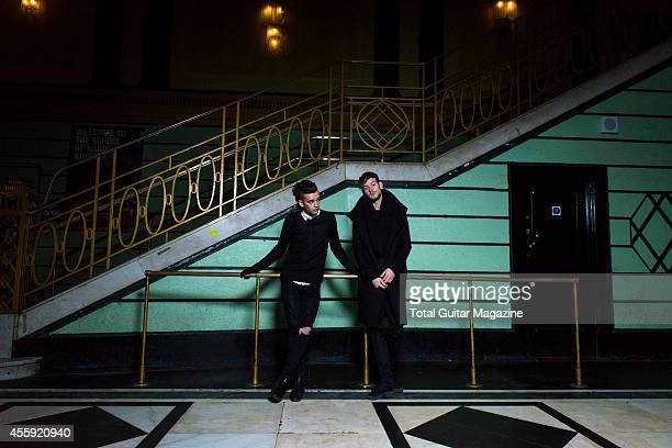 Portrait of Matthew Healy and Adam Hann of English indie rock group The 1975 photographed before a live performance at the O2 Academy in Brixton...