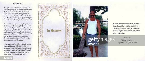 A portrait of Matthew Michael Ansara the son of actress Barbara Eden appears on the funeral memorial card from Ansara''s funeral July 2 2001 in...