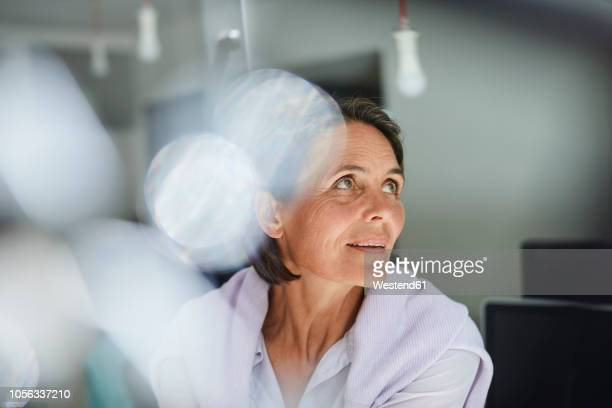 portrait of mature businesswoman in an office - variable schärfentiefe stock-fotos und bilder