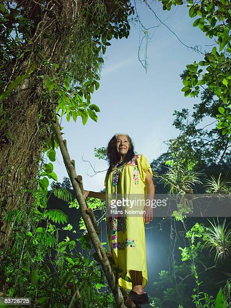 portrait of mature indigenous woman in jungle - traditional clothing stock pictures, royalty-free photos & images