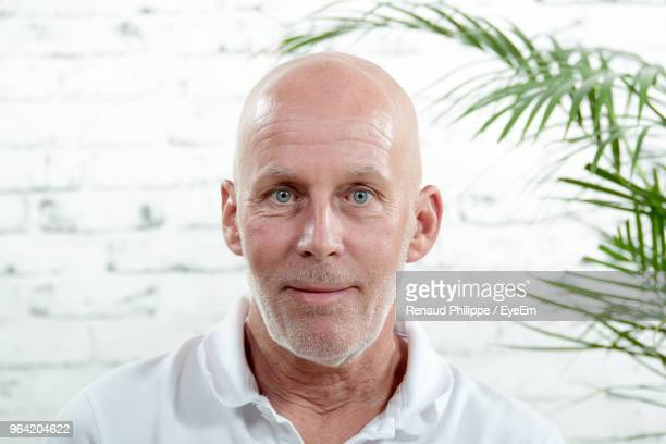 portrait of mature man against wall - completely bald stock pictures, royalty-free photos & images