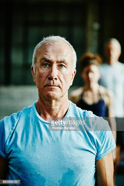 Portrait of mature man in yoga class