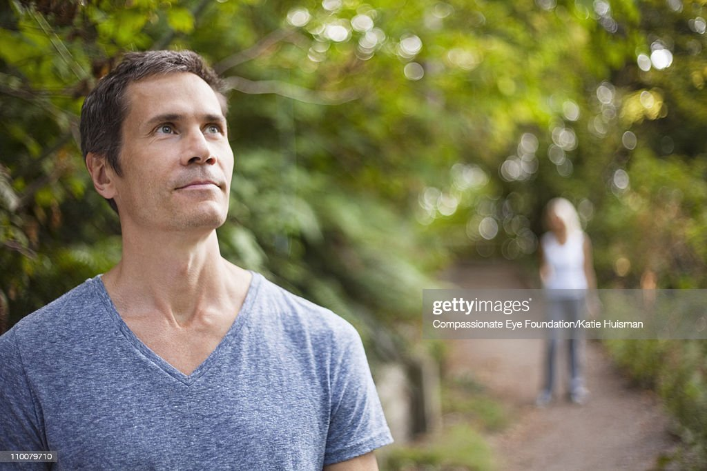 Portrait of mature man looking into the distance : Stock Photo